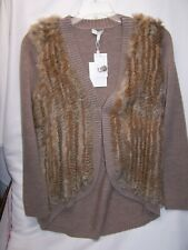 "$628 Joie-BROWN Wool Rabbit Fur Ribbed Trim Cardigan Sweater ""Ellera MEDIUM NEW"