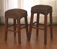 3 x Rustic Woven Seagrass Stools Barstool Height BRAND NEW Brown Colour