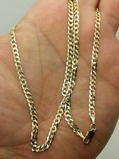 "10k Solid Yellow Gold High Polish Cuban Curb Necklace Pendant Chain 24"" 3.2mm"