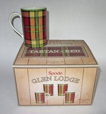 SPODE Glen Lodge Tartan Red Mug Cup Check Pattern 12 oz. Set 4