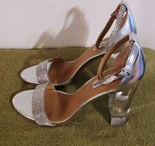 Steve Madden Women's Glass Block Heel Silver Sandals Size 10M