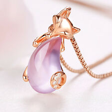 Rose Gold Plated Fashion Statement Women Crystal Pink Fox Pendant Necklace