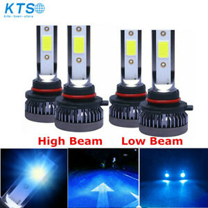 4 Pcs 9005 9006 8000K Ice Blue Combo COB LED Headlight High Low Beam Bulbs