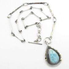 925 Solid Sterling Silver Authentic LARIMAR Antique Style Necklace 20.5 Inches