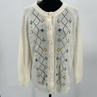 Vintage Cream Cardigan Floral Embroidery Unsized Womens Sweater Grandma Core