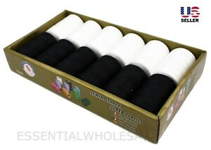 Lot 12 Spools Sewing Thread Polyester Black & White 1200 Yards Each All Purpose