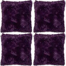 4 X Super Soft Faux Fur Cushion Covers Cuddly Shaggy 43x43cm 6 Colours Purple 10-084.1