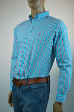 Ralph Lauren Classic Fit Turquoise & Pink Stripe Long Sleeve Shirt / Pony-NWT