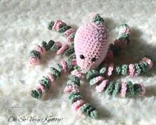"Handmade Amigurumi Preemie-Buddy Baby Toy Crochet Stuffed 7"" Octopus Pink Camo"