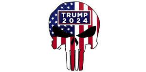 Lot of 6 Trump 2024 USA Flag Overlay Demon Skull White Vinyl Bumper Sticker