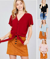 Women's Tie front Casual Blouse Shirt Top Solid Button Up V-Neck Basic Relaxed