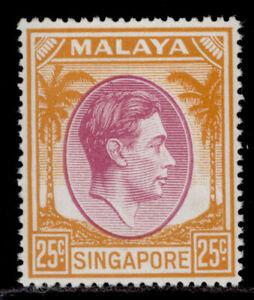 SINGAPORE GVI SG25, 25c purple & orange, NH MINT.
