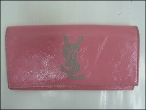 Auth YR22 YVES SAINT LAURENT YSL Logo Flap Long Wallet Gold Hardware From Japan