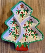 Vintage ~ Plastic Tree ~ Snack Serving Tray ~ 3 Sections ~ Candy Canes