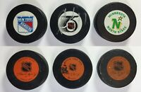 Vintage NHL Hockey Pucks New York Rangers Minnesota  North Stars 75  Anniversary