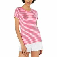Maison Jules Womens Striped Crewneck Top Pink XL