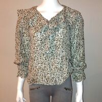 Express Silk Blouse Size XS Womens Floral Peasant Top V Neck Long Sleeve Shirt