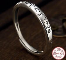 925 Sterling Silver Adjustable Six Words Mantra Om Mani Padme Hum Ring Buddhist