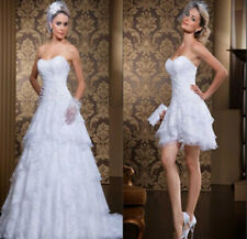 New White Short Lace Wedding Dress Beaded Sequins Detachable Train Bridal Gowns