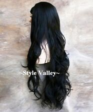 Jet BLACK 3/4 Fall Long WAVY Hair Piece Half wig cap  Extra long Hairpiece  #1