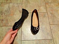 womens cherish black patent toe cap flats shoes size 8