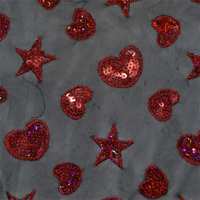Black/Red Sequin Stretch Mesh, Fabric By The Yard