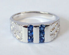 MR011 GENUINE 9ct White GOLD MENS Natural Blue Sapphire NUGGET Ring size T 9.75