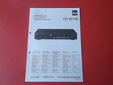 Dual CD 100 RS CD Player orig.Service Anleitung Manual