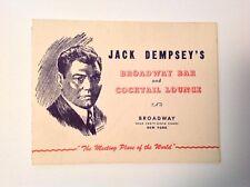 Vintage Jack Dempsey Restaurant  photograph folder autographed by him