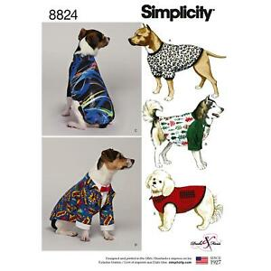 Simplicity Sewing Pattern 8824 Dog Pet Coats Accessories Size S-L
