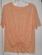 Women's Top by Women Within 1X 22/24 Orange Marled Front Tie Waist Summer Shirt