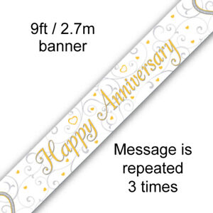 Happy Anniversary Banner Linked Hearts 9ft Holographic Foil Party Decoration