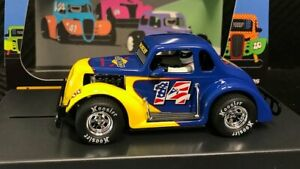 Pioneer '37 Dodge Coupe Legends Racer Sunoco Blue-Yellow #14 P129 1/32 Slot Car