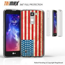 LG K7 Tribute 5 M1 Treasure Clear Slim 360 Full Body Protection Case USA Flag