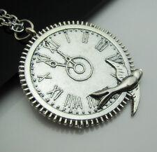 Free HOT Tibetan silver Gear Clocks Charm Pendant Lucky Sweater chain Necklace