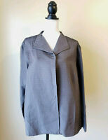 Eileen Fisher Womens Jacket Suit Set Pants Habutai Pleated Silk Gray Size 1X