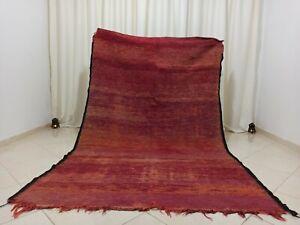 Handmade Vintage Boujaad Moroccan Rug 5'3''x8'2'' Red Purple Solid Berber Rug