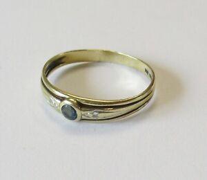 Goldring 333er Gold mit 3 kleinen Steinen (2x weiß, 1 x blau) Damen Ring Schmuck