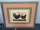 Warren Kimble Country Rooster & Hen American Folk Art Framed Farmhouse Primitive