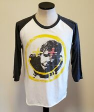 Vintage VTG Bootleg Kurt Cobain Nirvana Raglan Tee Shirt Gray White Large