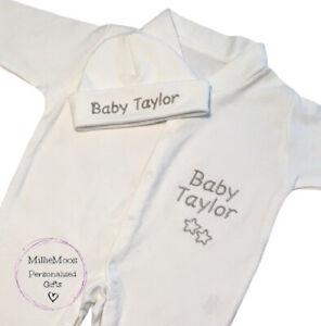 Personalised Baby Sleepsuit Baby Grow Hat Unisex Boy Girl Clothes Gift Set Stars