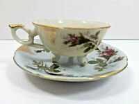 Demitasse Footed Tea Cup and Saucer Gold Trim Mini Japan Collectible Vintage