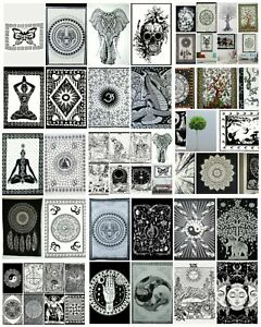 Black & White Wall Hanging Decorative Cotton Maditation Hippie Mandala Tapestry