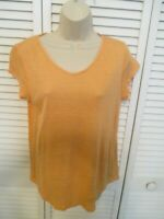 Nordstrom Collection Peach  100% linen V neck short sleeve tee womens size small