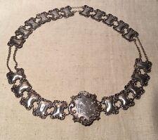 Antique Art Nouveau Sterling Silver Floral Ornate Unusual Chain Belt
