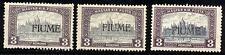 FIUME - 1918/19 - 3 K. violetto e grigio - Tre valori - nuovi - MH - n.19/II