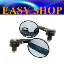 """BLACK 3"""" ROUND 7/8"""" HANDLE BAR END MIRRORS CAFE RACER BOBBER CLUBMAN MOTORCYCLE"""