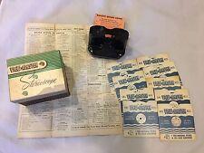 Vintage Bakelite View Master Stereoscope w/ Box,9 Sawyer Reels,1949 Reel List
