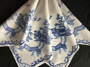 BEAUTIFUL VINTAGE LINEN HAND EMBROIDERED TABLECLOTH~BLUE WILLOW DESIGN