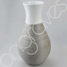 Large 45 cm blanc & TEXTURé ARGENT ART DECO courbe vase décoration décor FLO